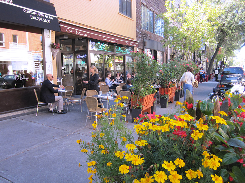 outdoor cafes seen on a weekend in Montreal