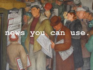 News You Can Use - painting of people at news kiosk